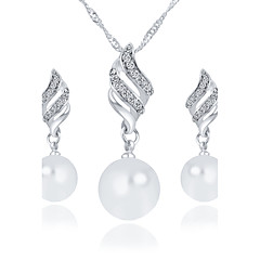 Imitation Pearl Rhinestone Earrings Spiral Necklace Set Ccrew Simple Style Bridesmaid Wedding Jewelry Set
