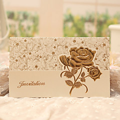 cheap Wedding Invitations-Tri-Fold Wedding Invitations 50-Invitation Cards Classic Style Floral Style Pearl Paper