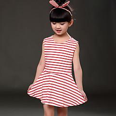 tanie Odzież dla dziewczynek-Brzdąc Dla dziewczynek Prążki Codzienny Nadruk Bez rękawów Bawełna Sukienka Zielony 100