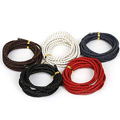 beadia 4mm flettet lær ledningen fit halskjeder&armbånd 2mts lengde (5 farger)
