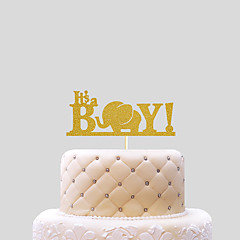 cheap Cake Toppers-Cake Topper Beach Theme Classic Theme Funny & Reluctant Card Paper Baby Shower with Bowknot 1 OPP