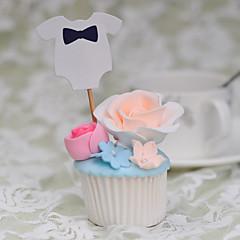 billige Kakedekorasjoner-Kakepynt Ikke-personalisert Artig & Underspillet Kort Papir Bryllup / Jubileum / Bursdag Sløyfe Hvit / Blå Strand Tema / Klassisk Tema 10