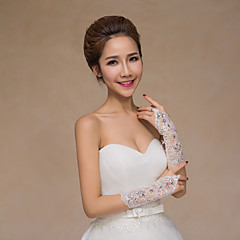 Lace Polyester Wrist Length Glove Bridal Gloves Party/ Evening Gloves With Rhinestone