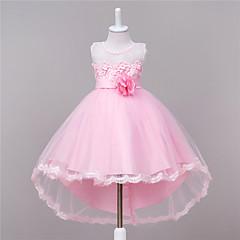 billige Pigekjoler-Pigens Kjole I-byen-tøj Ensfarvet, Polyester Sommer Uden ærmer Blomster Rosette Hvid Rød Lys pink