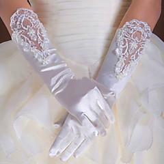 cheap Party Gloves-Cotton Elastic Satin Wrist Length Elbow Length Glove Charm Stylish Bridal Gloves Party/ Evening Gloves With Embroidery Solid