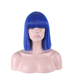 cheap Wigs & Hair Pieces-straight bright blue color with bangs hari cut short synthetic wigs for womens cosplay style Halloween