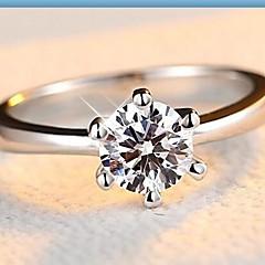 levne -Dámské Široké prsteny Klasické Na běžné nošení Módní Stříbro Zirkon Umělé diamanty Šestizubec Šperky Pro Svatební Zásnuby Denní Ležérní