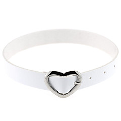 cheap Necklaces-Women's Circle Heart Personalized Vintage Casual Sexy Love Fashion Punk Adjustable Choker Necklace Collar Necklace Leather Silver Plated