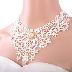 cheap Necklaces-Women's Shape Personalized Vintage Casual Bohemian Sexy Bridal Fashion Imitation Pearl Punk Choker Necklace Pendant Necklace Pearl Lace