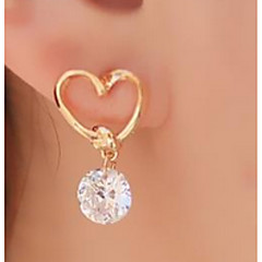 Women's Gold Bowknot Zircon Drpp Earrings Classical Feminine Style