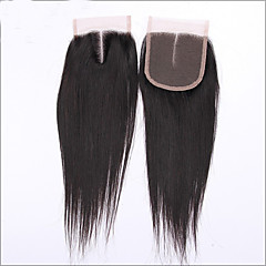 cheap Wigs & Hair Pieces-natural color 4 x4 middle part silk straight virgin peruvian lace closure hair with baby hair