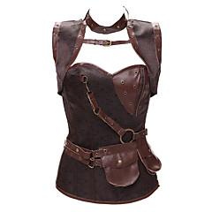 billige Moteundertøy-kvinners glidelås overbust corset-jacquard, beaded