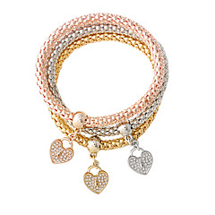 Pulseiras Pulseiras com Pendentes Liga Formato de Coração Fashion Jóias Dom Dourado / Prateado / Ouro Rose,1conjunto