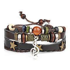 Punk Men's Bracelet PU Leather Bracelet Music Note Charm Multilayer for Men Fashion Jewelry Gifts