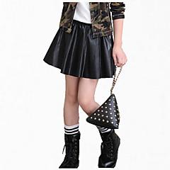 billige Bukser og leggings til piger-Børn Pige Pænt tøj Daglig Ensfarvet Langærmet Normal Normal PU Nederdel Sort