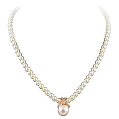 cheap Necklaces-Women's Shape Cute Party Work Casual Fashion European Choker Necklace Pendant Necklace Pearl Rhinestone Silver Plated Gold Plated Alloy