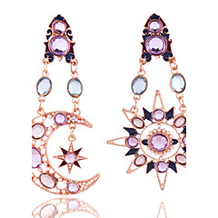 Exaggerated Vintage Bohemia Multicolor Asymmetric Gold Plated Crystal Sun and Moon Dangle Earrings For Women