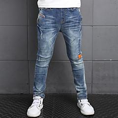 baratos Roupas de Meninos-Para Meninos Calças Jeans Diário Sólido Inverno Primavera Outono Todas as Estações Algodão Floral Azul