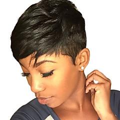 billiga Peruker och hårförlängning-Human Hair Capless Parykar Äkta hår Naturligt vågigt Utan lock Peruk