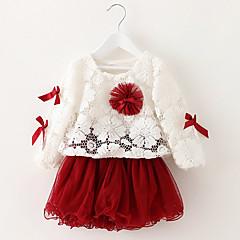 billige Pigekjoler-Baby / Spædbarn Pige Rosette I-byen-tøj Ensfarvet Langærmet Bomuld Kjole Grøn