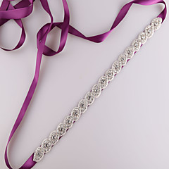 Satin Wedding Party/ Evening Dailywear Sash With Rhinestone Beading
