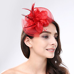 cheap Party Headpieces-Feather Net Fascinators Headwear with Floral 1pc Wedding Special Occasion Headpiece