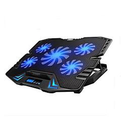 baratos Ventoínhas de Laptop-controle inteligente bloco de resfriamento laptop tela de LED ajustável com 5 fãs
