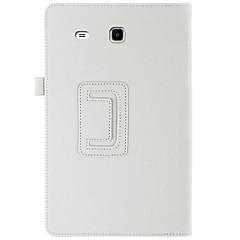 billige Nettbrettetuier-Etui Til Samsung Galaxy Heldekkende etui Tablet Cases Ensfarget Hard PU Leather til Tab E 9.6