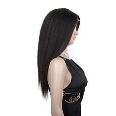 billiga Peruker och hårförlängning-Äkta hår Hel-spets Peruk Rak Kinky Rakt 130% 150% Densitet 100 % handbundet Afro-amerikansk peruk Naturlig hårlinje Lång Dam Äkta peruker