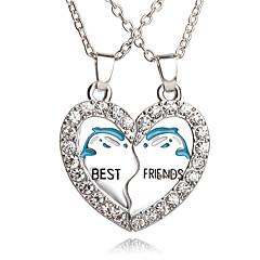 Erkek Kadın Uçlu Kolyeler Heart Shape Geometric Shape Yapay Elmas Gümüş Kaplama alaşım Aşk Kalp Moda Çok güzel Avrupa Mücevher Uyumluluk