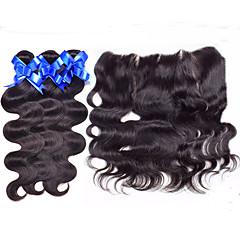 Χαμηλού Κόστους Ένα πακέτο μαλλιά-Περουβιανή Κυματομορφή Σώματος Υφάνσεις ανθρώπινα μαλλιών 4 Κομμάτια 0.35