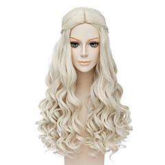 billiga Peruker och hårförlängning-Syntetiska peruker / Kostymperuker Vågigt Syntetiskt hår Mittbena / Afro-amerikansk peruk / Flätad peruk Blond Peruk Dam Lång Cosplay