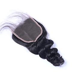 billiga Peruker och hårförlängning-Brasilianskt hår 3.5x4 Stängning Klassisk / Löst vågigt Mittparti / 3 Del / Sidodel Schweizisk spetsperuk Äkta hår Dagligen