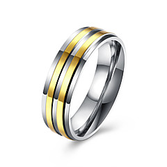 Herre Båndringe Mode Rustfrit Stål Guldbelagt Smykker Til Bryllup Fest Daglig Afslappet