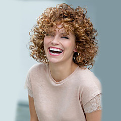 cheap Wigs & Hair Pieces-Synthetic Wig Women's Curly / Afro Blonde Synthetic Hair Blonde Wig Short Brown