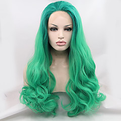 cheap Drag Wigs-Synthetic Lace Front Wig Natural Wave Natural Hairline Green Women's Lace Front Natural Wigs Long Synthetic Hair