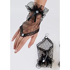 billige Festhandsker-Blonde Håndledslængde Handske Brudehandsker With Bjergkrystal Blomster