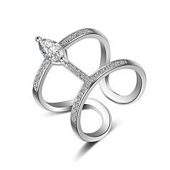 billige Motering-Dame Krystall Syntetisk Diamant crossover Band Ring Knokering - Rose gull, Sølv Hjerte Mote En størrelse Sølv / Gylden Til Bryllup Fest Daglig