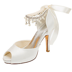 Women's Heels Spring / Fall Platform Stretch Satin Wedding / Dress Stiletto Heel Crystal / Pearl Ivory