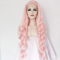 cheap Wigs & Hair Pieces-best natural looking long pink synthetic wavy lace front wig for white women cheap good quality natural wavy wigs heat resistant