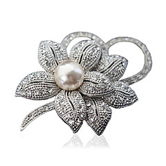 kvinners mote legering / Rhinestone blomst brosjer chic pin partiet / daglig / uformell smykker tilbehør 1pc