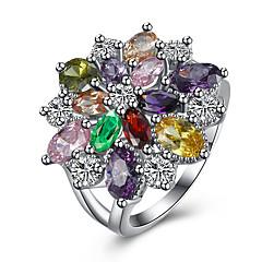 olcso -Női Gyűrű Kocka cirkónia luxus ékszer jelmez ékszerek Cirkonium Réz Titanium Acél Hamis gyémánt Ékszerek Kompatibilitás Parti Napi