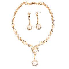 baratos Conjuntos de Bijuteria-Mulheres Pérola / Diamante sintético Conjunto de jóias - Flor Incluir Ouro Rose Para Festa / Diário / Casual