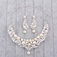 tanie -Biżuteria 1 Naszyjnik / 1 parę kolczyków Rhinestone / Pearl imitacja Ślub 1set Damskie Srebrne Prezenty ślubne