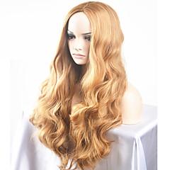 billiga Peruker och hårförlängning-Syntetiska peruker Naturligt vågigt Blond Syntetiskt hår Mittbena Blond Peruk Dam Lång / Väldigt länge Utan lock Guldbrun