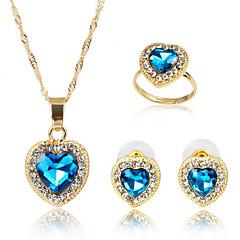 baratos Conjuntos de Bijuteria-Mulheres Sapphire sintético Conjunto de jóias - Incluir Azul Para Festa / Diário / Anéis