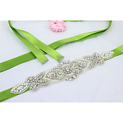 cheap Party Sashes-Satin Wedding Party / Evening Dailywear Sash With Rhinestone Beading Imitation Pearl Women's Sashes