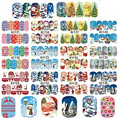 4sets, 48designs Nail Art autocolant Decals de transfer de apă machiaj cosmetice Nail Art Design