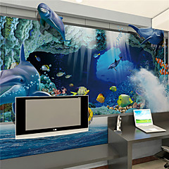 cheap -Custom Wallpaper Large Mural Wallcovering Deep Sea Cave Fish School Bedroom Living Room Sofa TV Background Wall Decoration 448×280cm