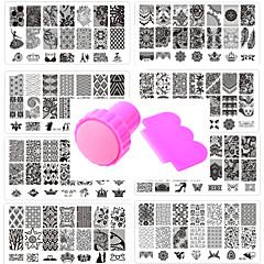 10pcs manucure motif de dentelle joint modèle de clou donnent 1 set outil de joint 12x6cm